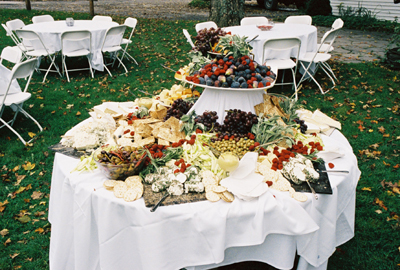 image by Doris Barnes: Catering cheese table outdoors