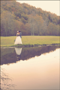 mountain & pond image-Catskill Mountain Wedding at Full Moon Resort