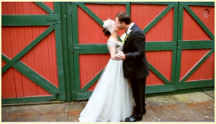 Catskills Barn Wedding at Full Moon Resort- kissing at barn