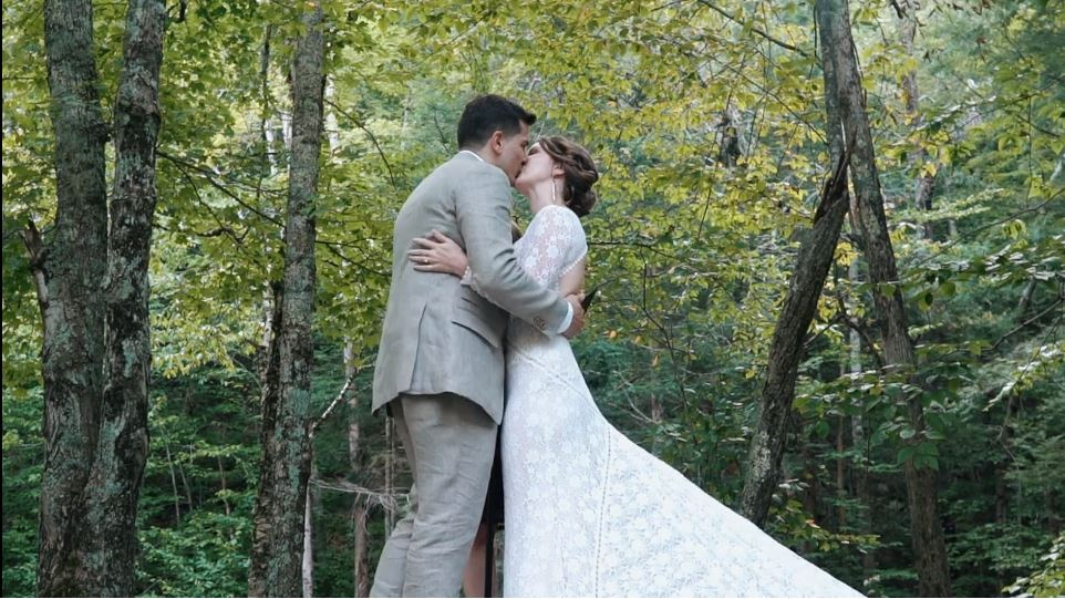 Wedding Kiss- forest background