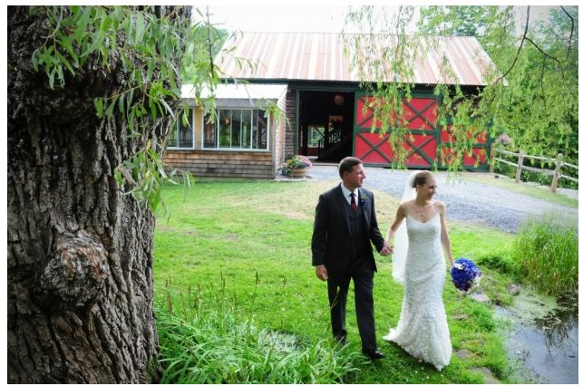 Catskill Mountain Wedding at Full Moon Resort- walk near the barn