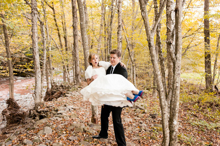 Catskill Wedding Image at Full Moon Resort- Frolicing in the Woods