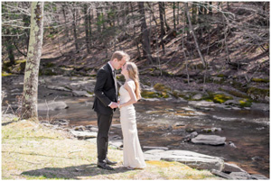 Wedding couple along Esopus Creek