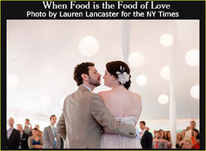 Wedding couple kissing under Big Top Tent, photo by Lauren Lancaster for the New York Times