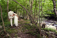 Wedding at Full Moon Resort- stroll along the Esopus Creek