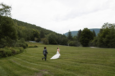 Wedding couple in summer meadow