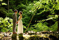 Catskill Mountain Wedding at Full Moon Resort- couples near the stream
