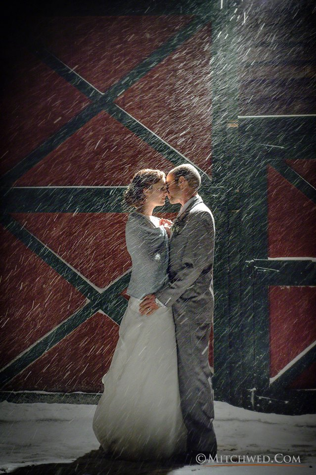 Winter wedding snow storm