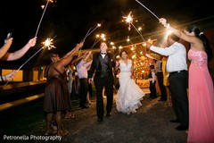 Hindu-Jewish wedding couple with sparklers