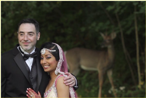September wedding couple with deer
