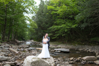 Early Summer Wedding- Standing in the creek by the woods