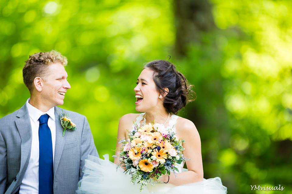 Wedding couple portrait -smiles all around!