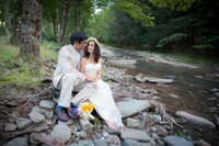 Full Moon Wedding- sitting amongst the rocks in the Esopus Creek