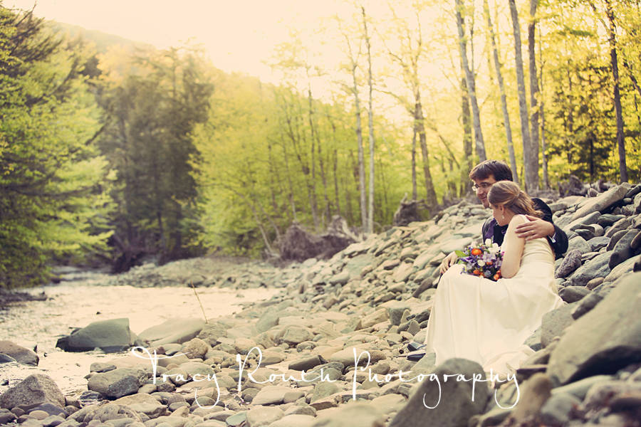 Catskill Mountain Wedding at Full Moon Resort- sitting by the Esopus Creek