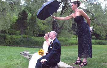 Wedding image: bride and groom playing around